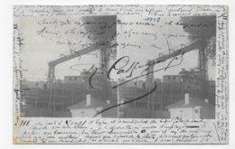 (RECTO / VERSO) CARTE STEREOSCOPIQUE - USINE CHIMIQUE EN GIRONDE EN 1908 - LIBOURNE - CPA VOYAGEE - 33 - Stereoscopische Kaarten