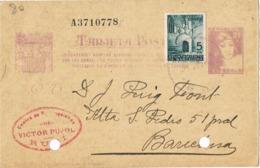 34201. Entero Postal RUBI (Barcelona) 1938. Sello Recargo Barcelona, Guerra Civil, Sin Censura - Enteros Postales