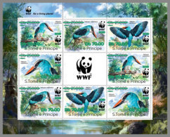 SAO TOME 2019 MNH WWF Overprint Whales Birds Wale Vögel Baleines Oiseaux GREEN FOIL 8v - OFFICIAL ISSUE - DH1934 - Unused Stamps