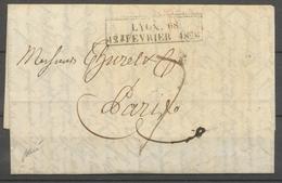 Lettre LYON 68/12 FEVRIER 1828 CACHET D'ESSAI Superbe X5047 - Postmark Collection (Covers)