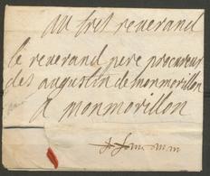 1697 Lettre De Belabre Franchise Pr Procureur Des Augustins à Montmorillon X5064 - Poststempel (Briefe)