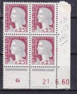 N° 1263 Type Marianne De Décaris : Bloc De 4 Timbres Neuf Impeccable Coins Datés 21.6.60 En Rouge - Esquina Con Fecha