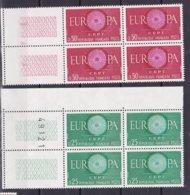 N° 1266 Et 1267 Série Europa 1960 :Série En Blocs De 4 Timbres Neuf Impeccable - France