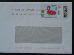 Flamant Rose Pink Flamingo Timbre En Ligne Sur Lettre (e-stamp On Cover) TPP 4474 - Flamants