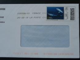 Requin Shark National Geograpĥic Timbre En Ligne Sur Lettre (e-stamp On Cover) TPP 4561 - Poissons