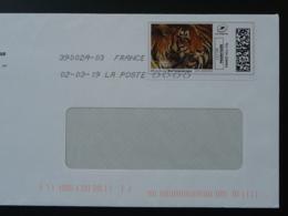Tigre Tiger National Geographic Timbre En Ligne Sur Lettre (e-stamp On Cover) TPP 4573 - Félins