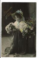 CPA-Carte Postale -France-Bonne Fête Avec Une Fillettes Portant Des Fleurs En 1907 VM7572 - Fêtes - Voeux