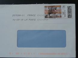 Lion National Geographic Timbre En Ligne Sur Lettre (e-stamp On Cover) TPP 4586 - Félins