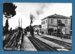 MANZIANA ROMA LA STAZIONE FERROVIARIA CON TRENO NON VG. - Gares - Avec Trains