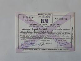 Autorisation Speciale SNCF Aveugle De Nogent-sur-Marne .... Lot33 . - Otros