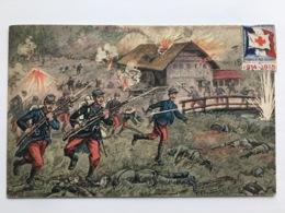 Ak En Haute Alsace Infanterie Soldaten Timbre Stamp Patriotic Patriotique - Guerra 1914-18