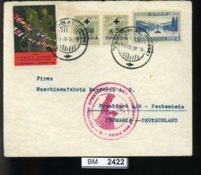 BM2422, Griechenland, O, 1934, Thessaloniki Nach Frankfurt, Mit Vignette Und Rotem Sonderstempel - Griechenland