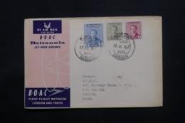 IRAQ - Enveloppe De Basrah Pour Rangoon Par 1er Vol Londres / Tokyo En 1957 , Affranchissement Plaisant - L 43719 - Iraq