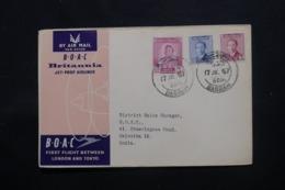 IRAQ - Enveloppe De Basrah Pour Calcutta Par 1er Vol Londres / Tokyo En 1957 , Affranchissement Plaisant - L 43720 - Irak