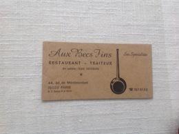 Ancienne Carte De Visite De Restaurant Aux Becs Fins.  Paris - Cartoncini Da Visita