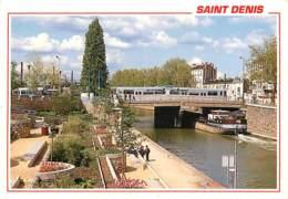 93 - Saint Denis - Le Canal Face à La Gare Et Départ Du Tramway - Péniches - Carte Neuve - Voir Scans Recto-Verso - Saint Denis