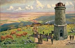 Ilsenburg (Harz) Künstlerkarte - Alter Turm Auf Dem Brockem - Bahnhof 1913  - Allemagne