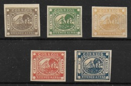 Argentina Buenos Aires  5x 1858 Steamship Stamps Reprints - Buenos Aires (1858-1864)