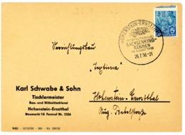"""""""HOHENSTEIN-ERNSTTHAL - SACHSENRING RENNEN"""" Sonderstempel 1956 Ortsbrief - Motorräder"""