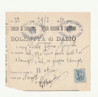BOLLETTA DAZIO Vendita VINO E GRAPPA - Comune Longarone - Ufficio Daziario 1920 - Italia