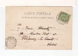 Sur CPA De Mervent Vendée Pour Fontenay Le Comte C. Ambulant Mervent Fontenay Le Comte 1901. CAD Fontenay. (3307) - Poste Ferroviaire