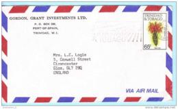 TRINIDAD & TOBAGO Brief Cover -- Gordon Grant Investment Ltd. -- SST Slogan 486 Blumen (Scan)(15155) - Trinidad & Tobago (1962-...)