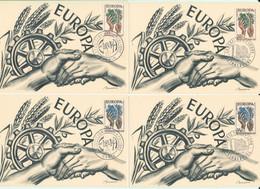 Lot De 4 Cartes Europa 1957 Paris Et Strasbourg - FDC