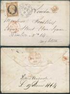 [101035]TB//-N° 23, 40c Orange, Nuance Brune Foncée (timbre Décoloré), Obl étoile Et Cachet à Date Circulaire 'PARIS 6E - Marcofilia (sobres)