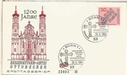 ALEMANIA FDC BONN 1964 1200 JAHRE BENIDIKTINER ABTEI OTTOBEUREN CHRUCH - Iglesias Y Catedrales