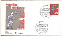 ALEMANIA FDC BONN 1970 BOMBERO FIREMAN FIRE - Feuerwehr
