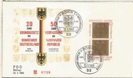 ALEMANIA FDC BONN 1969 REPUBLICA DE WEIMAR Y REPUBLICA FEDERAL - Covers