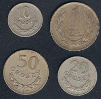 Polen, Lot 1949: 10,20,50 Groszy, 1 Zloty, CuNi - Polonia