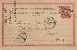 57 THIONVILLE  CARTE POSTALE 20 OCTOBRE 1882 UNION POSTALE UNIVERSELLE  CARTE ALLEMANDE  TAMPON LUXEMBURG METZ - Thionville