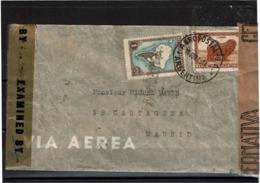 LCTN57/5 -  ARGENTINE LETTRE AVION POUR MADRID JUIN 1945 CENSURE - Airmail