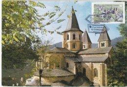 CM: St-JACQUES DE COMPOSTELLE : EGLISE ABBATIALE SAINT-FOYE à CONQUES : 1er Jour 22.02.2013 (neuve) - Cartas Máxima