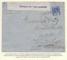 Ceylon 1919, Cover Censored In Colombo With Perfin - Ceilán (...-1947)