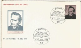 ALEMANIA FDC BONN 1966 NATHAN SÖDERBLOM RELIGION NOBEL PAZ PEACE PRIZE - Nobel Prize Laureates