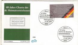 ALEMANIA  FDC BONN 1990 40 JAHRE CHARTA DER DT HEIMATVERTRIEBEN - Refugiados