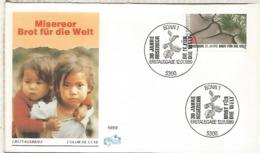 ALEMANIA FDC BONN 1989 ALIMENTACION PAN CONTRA EL HAMBRE - ACF - Aktion Gegen Den Hunger