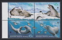 Australian Ant. Terr. WWF Leopard Seal 4v Block 2*2 With Margins MNH SG#152-155 MI#145-148 SC#L118 A-d CV£7 - Territoire Antarctique Australien (AAT)