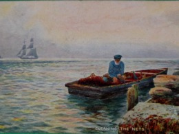 CPA TUCK OILETTE . PÊCHEUR EN BARQUE  NETTOYANT SES FILETS . FISHER MAN IN BOAT CLEANING THE NETS . OLD PC - Pêche