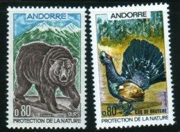1971 Protection De La Nature Ours Coq De Bruyère Faune   N° 210 Et 211   MNH Neuf Sans Charnières  Voir Explications - Andorre Français
