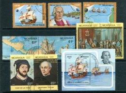 NICARAGUA - Lot De 9 Timbres Et Un Bloc Sur Christophe Colomb Et La Découverte De L'Amérique (bateaux - Voiliers) - Nicaragua