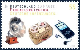 German Inventions - Germany 2011 Michel # 2892 ** MNH - Gramophone -  Tape Recorder - MP3 Player - Physics