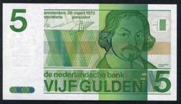 :Netherlands  -  5 Gulden  'Joost Van Den Vondel' 1973 - UNC - NR 4375201203 - [3] Emissioni Ministerie Van Oorlog