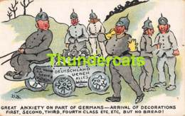 CPA ILLUSTRATEUR D. BARKS HUMOR HUMOUR GUERRE 1914 1918 GREAT ANXIETY ON PART OF GERMANS - Guerre 1914-18