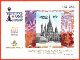 España. Spain. 1998. PO. EXFILNA '98. Barcelona. Catedral - Exposiciones Filatélicas