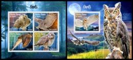 SIERRA LEONE 2019 - Owls. M/S + S/S Official Issue [SL190801] - Pájaros