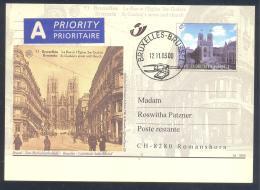 Belgium 2000 Priority Postal Stationery Card: Tourism Architecture Bruxelles; Cathedrale Saint Micher; Church Religion - Ferien & Tourismus