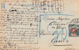 CP Affr 10 Centimes Obl LYON Du 1.5.16 Taxée 30 Centimes à Genève - Taxe